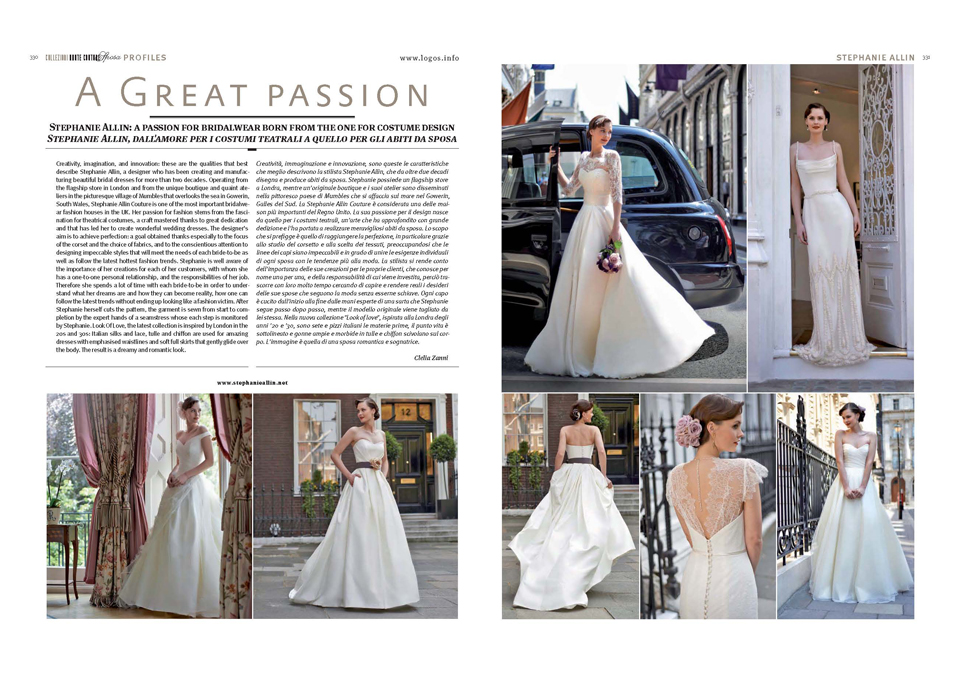 Italy Designer Wedding Dress Stephanie Allin magazine Europe Look of Love 2014