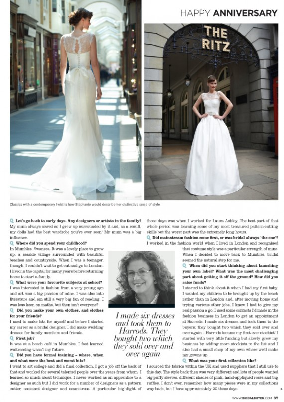 Stephanie Allin 20th anniversary British Bridal Designer London Wales