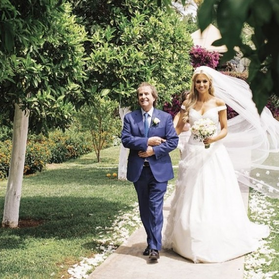Rosanna Davison wearing Stephanie Allin Couture London Designer Wedding Dress