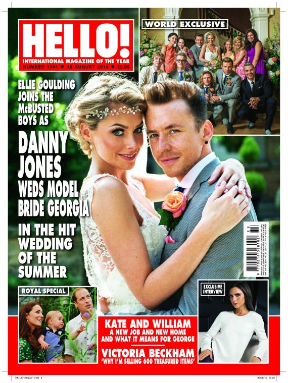 Hello Magazine 11 August 2014. Front Cover. Georgia Horsley wearing Stephanie Allin Couture Dress